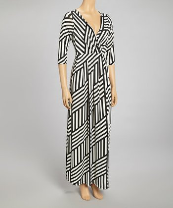 Black & White Geometric Stripe Surplice Maxi Dress