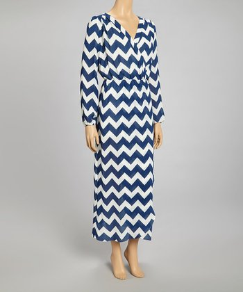 Blue & White Zigzag Surplice Maxi Dress