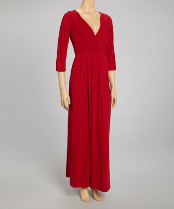 Red Ruched Surplice Maxi Dress