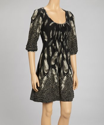 Black & Gray Leopard Feather Pleated Dress