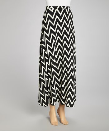 Black & White Zigzag Maxi Skirt - Women