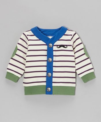 Blue Mustache Cardigan - Infant