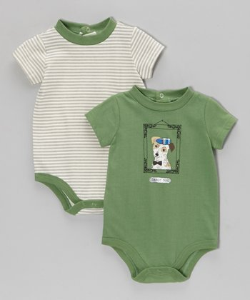 Green Dog Bodysuit Set