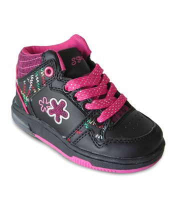 Black & Hot Pink Light-Up Hi-Top Sneaker