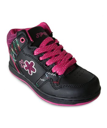 Black & Hot Pink Hi-Top Sneaker - Toddler & Kids
