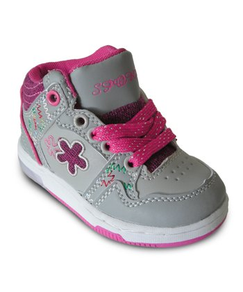 Gray & Hot Pink Light-Up Hi-Top Sneaker - Toddler