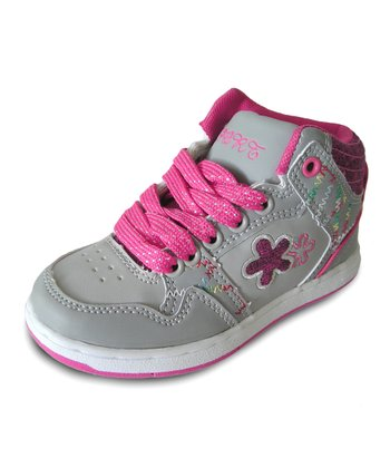 Gray & Hot Pink Hi-Top Sneaker