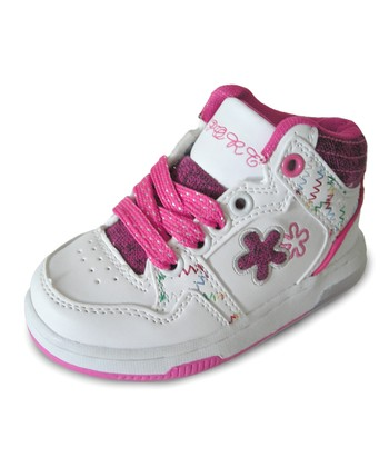 White & Hot Pink Light-Up Hi-Top Sneaker