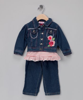 Medium Wash Denim Jacket Set - Infant
