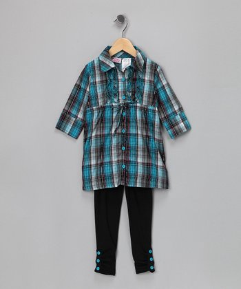 Blue Plaid Button-Up Tunic & Leggings - Infant & Toddler