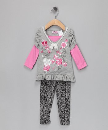 Gray Layered Tunic & Leggings - Infant & Girls