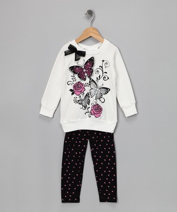 Cream Butterfly Sweatshirt & Leggings - Infant, Toddler & Girls