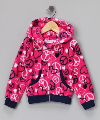 Pink Peace Sign Fleece Zip-Up Hoodie - Girls