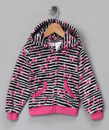 Pink Zebra Heart Fleece Zip-Up Hoodie - Girls
