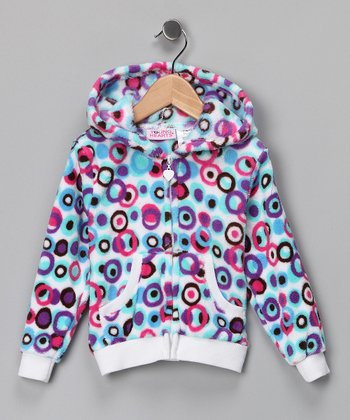 Blue & Purple Polka Dot Fleece Zip-Up Hoodie - Girls