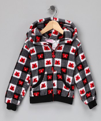 Red Butterfly Gingham Fleece Zip-Up Hoodie - Girls