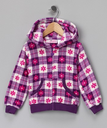 Purple Flower Gingham Fleece Zip-Up Hoodie - Girls