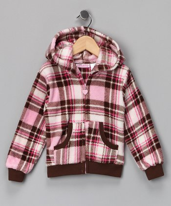 Pink & Brown Plaid Fleece Zip-Up Hoodie - Girls