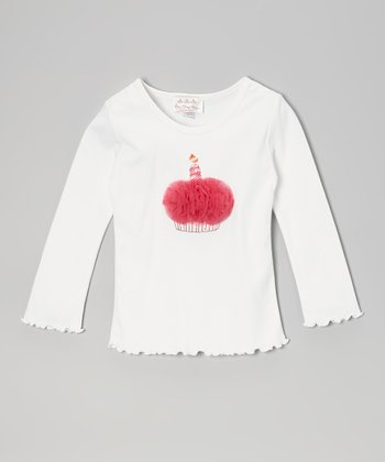 White & Raspberry Cake Long-Sleeve Tee - Infant, Toddler & Girls