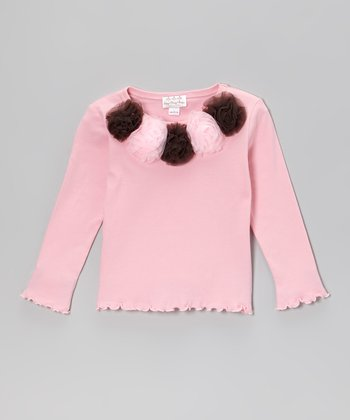 Pink & Brown Rosette Ruffle Long-Sleeve Tee - Infant, Toddler & Girls