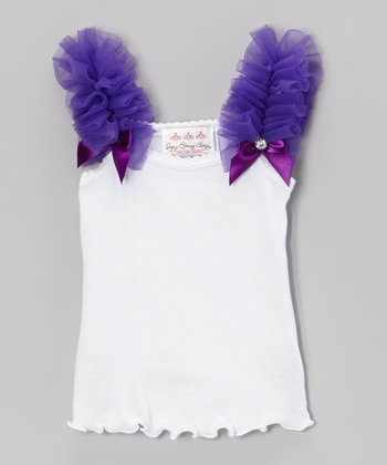 White & Purple Gem Bow Ruffle Tank - Infant, Toddler & Girls
