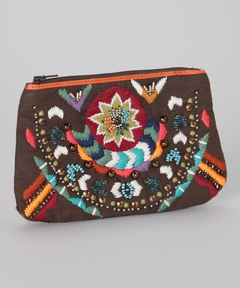 Brown Brocade Embellished Clutch