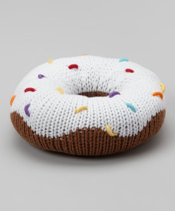 White Sprinkle Donut Plush Rattle