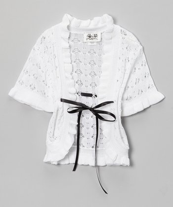 White & Black Crocheted Ruffle Open Cardigan - Girls