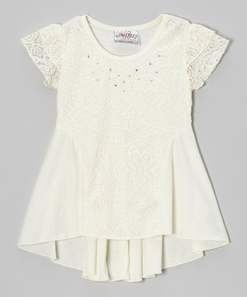 Natural Lace Angel-Sleeve Tee