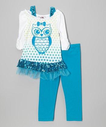 White & Blue Owl Tunic & Leggings