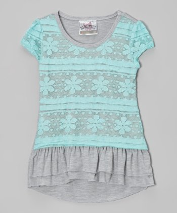 Miami Blue Lace Tiered Ruffle Top