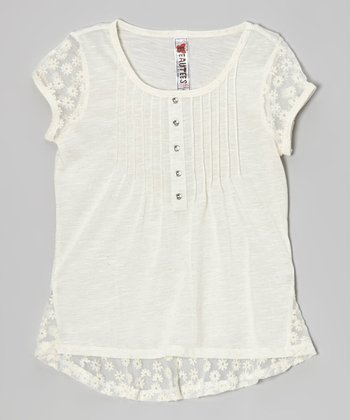 Natural Lace Cap-Sleeve Top