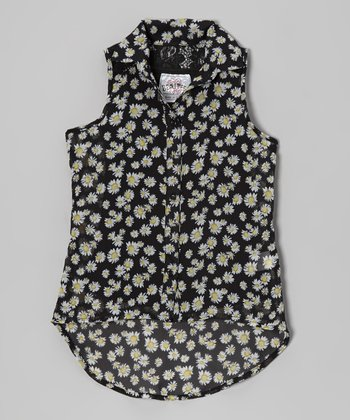 Black Daisy Chiffon Tank Top - Girls