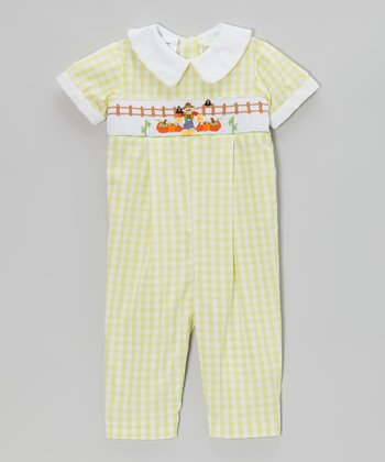 Green Scarecrow Smocked Bubble Playsuit - Infant