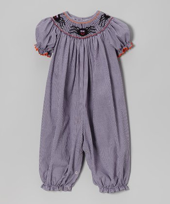 Purple Gingham Spider Bubble Playsuit - Infant
