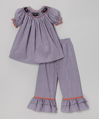Purple Gingham Spider Top & Pants - Infant, Toddler & Girls