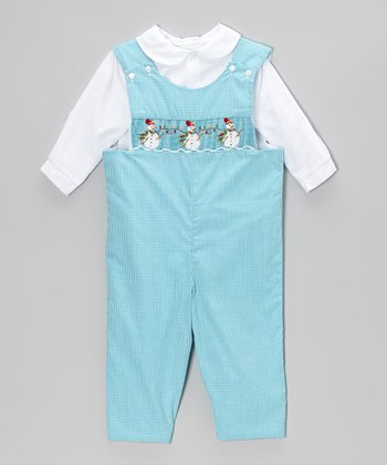 Turquoise Snowman Gingham Overalls	 - Infant & Toddler