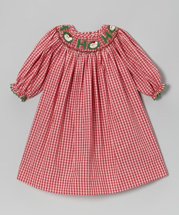 Red Checkerboard 'Ho Ho' Bishop Dress - Infant & Girls