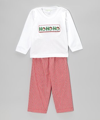 Red 'Ho Ho' Smocked Tee & Pants - Infant, Toddler & Boys