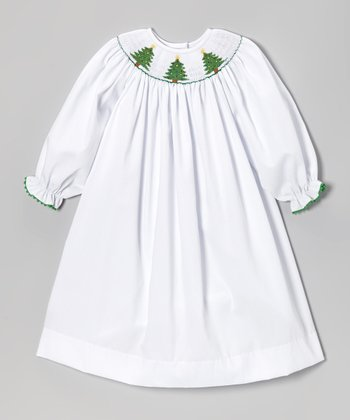 White Xmas Tree Bishop Dress - Infant, Toddler & Girls