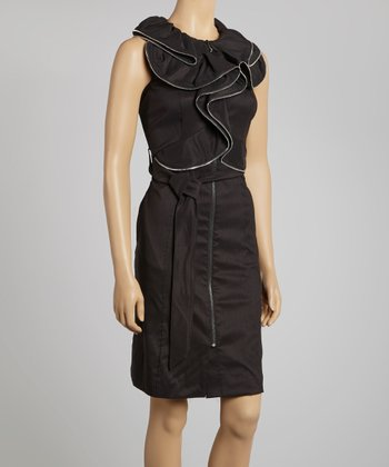 Black Ruffle Zipper Tie-Waist Dress - Women