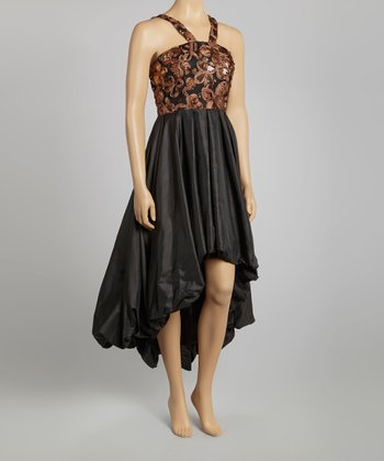 Black & Brown Embellished Hi-Low Dress - Women