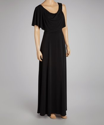 Black Asymmetrical Maxi Dress