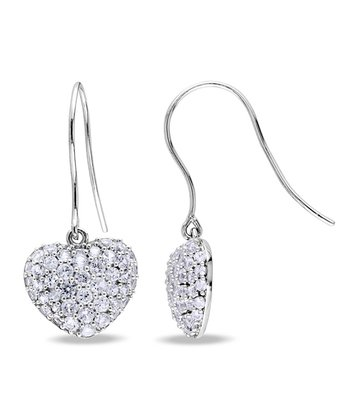 White Sapphire & Sterling Silver Hear Drop Earrings