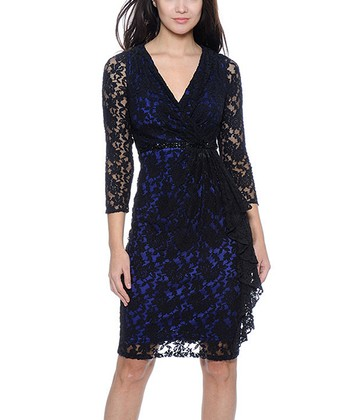 Black & Electric Blue Lace Dress