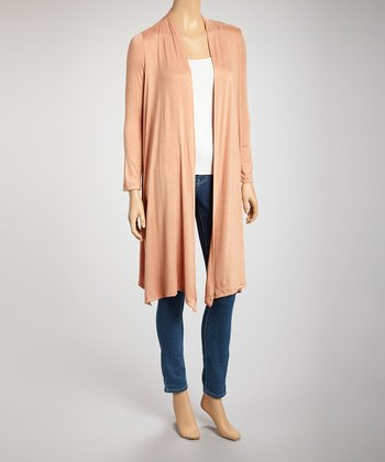 Peach Long Open Cardigan