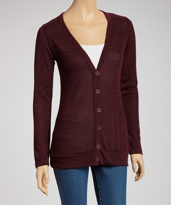 Wine Long V-Neck Cardigan