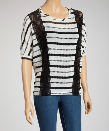 White Lace Stripe Top