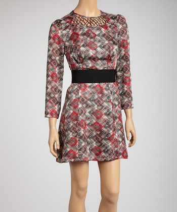 Red Belted Cutout Dress