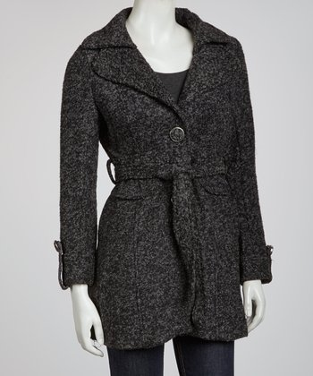 Charcoal Belted Wool-Blend Jacket
